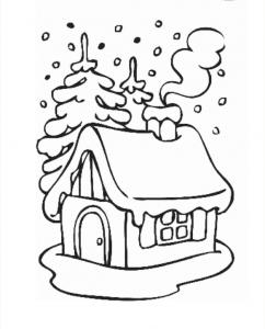 Шаблон Домик в снегу